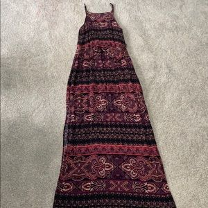 Patterned maroon maxi dress